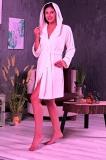 m014002 Халат NUSA женский велюр/махра короткий с капюшоном, бамбук 100% ns 0355
